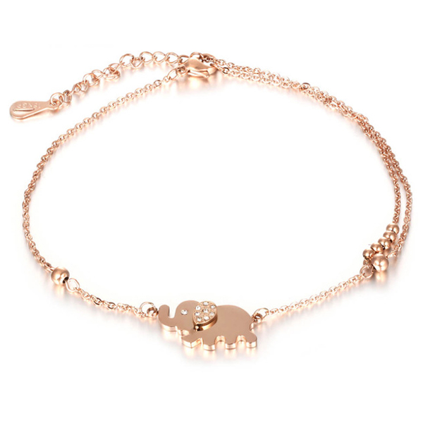 Cilla Jewels enkelband Elephant Rose Goud