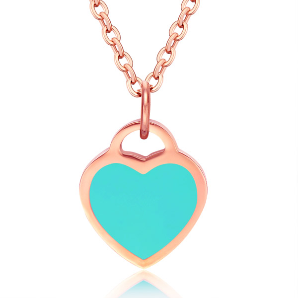 Cilla Jewels ketting Rosegoud Turquoise Heart Pendant