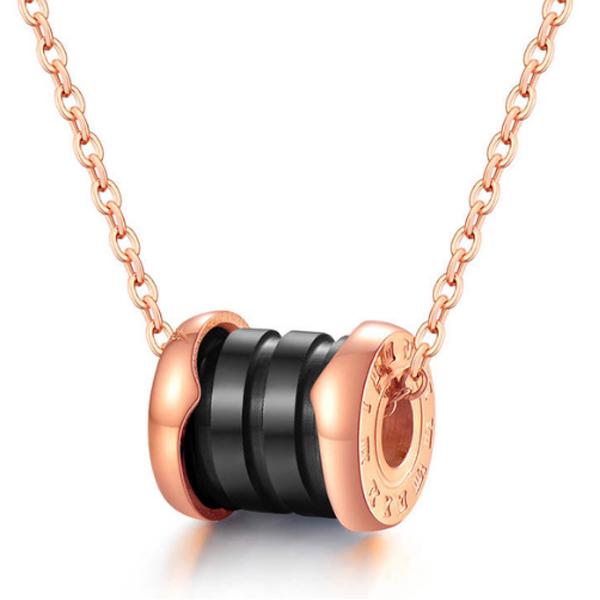Cilla Jewels ketting Rosegoud Zwart Roman Pendant