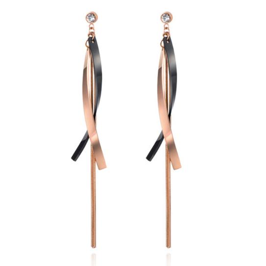 Cilla Jewels Lange oorbellen Titanium Rose met Zwart
