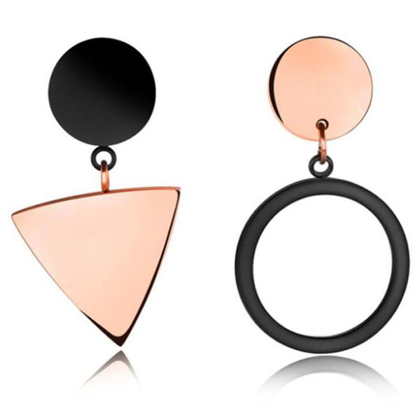 Cilla Jewels oorbellen Edelstaal Rosegoud Verguld Triangle