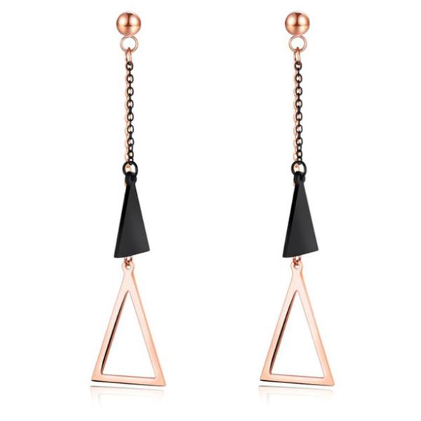 Cilla Jewels oorhangers Edelstaal Triangle Rosegoud Zwart