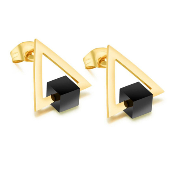 Cilla Jewels oorknoppen Edelstaal Triangle Geelgoud Verguld