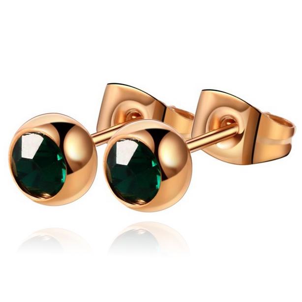 Cilla Jewels oorstekers Rose Edelstaal Groene steen