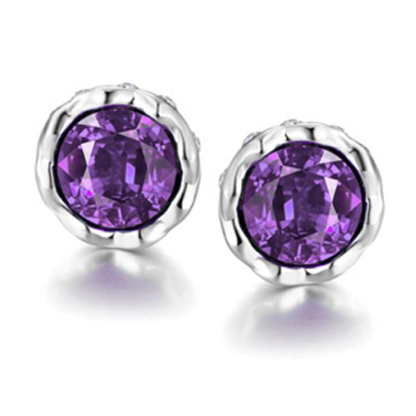 Cilla Jewels verzilverde oorknoppen Purple Diamond