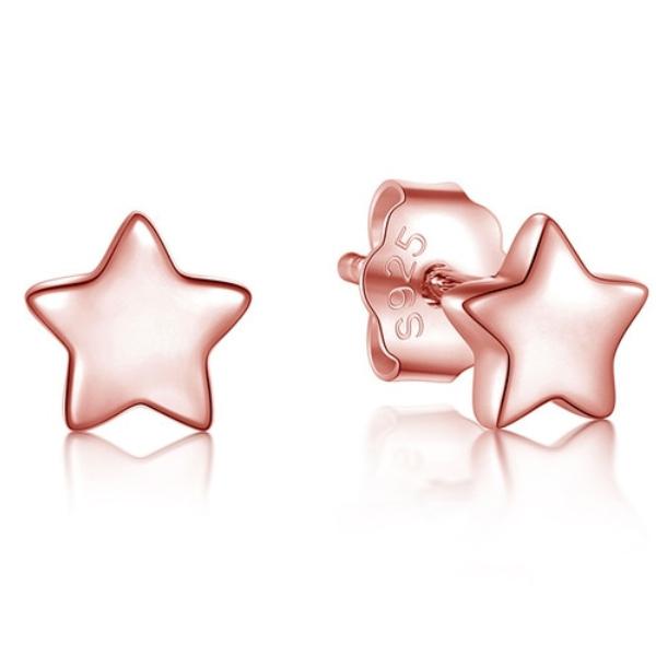 Cilla Silver dames oorknoppen 925 Zilver Stars Rose
