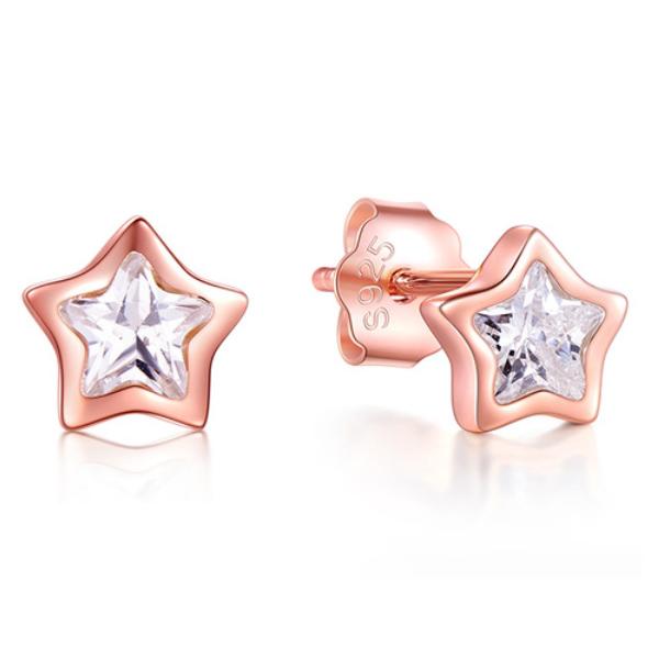 Cilla Silver dames oorknoppen 925 Zilver Zirkonia Stars Rose