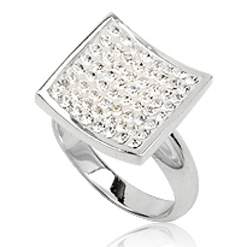 Zilveren dames ring met Swarovski 19mm