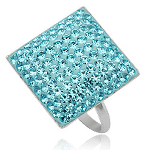 Cocktail ring 925 zilver Preciosa Crystal Light Blue