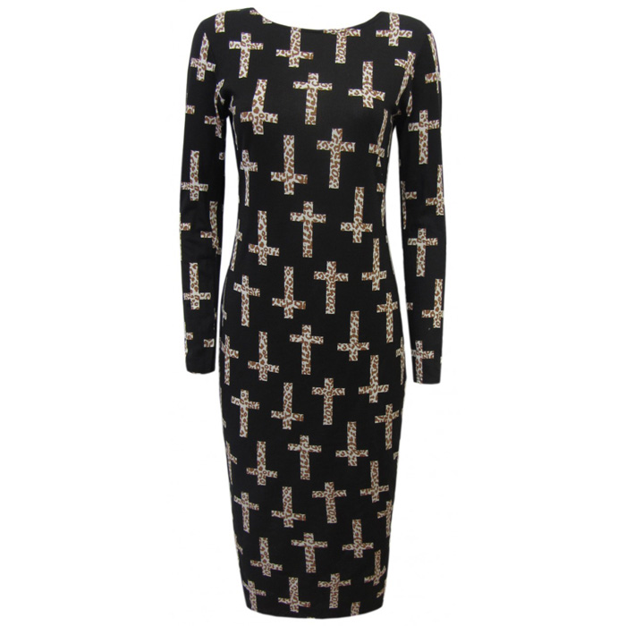 Cross Leopard Midi Dress