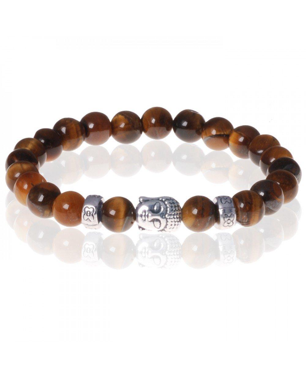 Favoriete Heren kralen armband Tigereye Buddha Silver @BM68