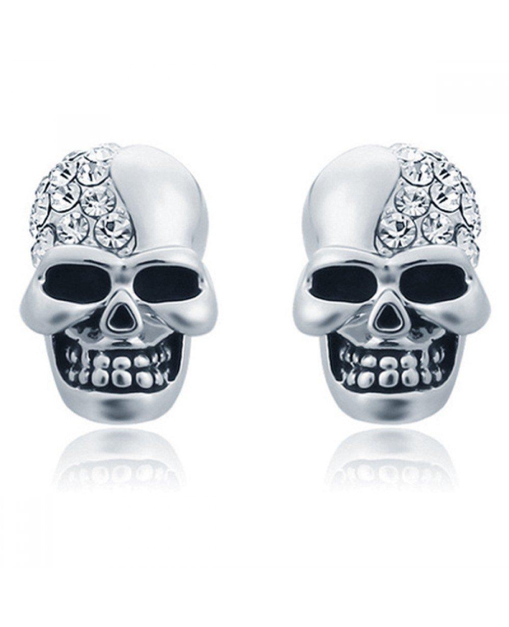 loopschoenen grote verscheidenheid aan modellen snelle levering Skull Stud oorbellen Edelstaal Kristal Zilver