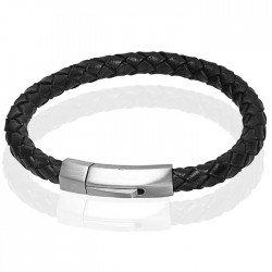 Leren armband Heren Edelstaal LGT Jewels Zilverkleurig Zwart