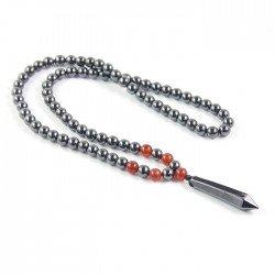 Memphis heren ketting Magnetische Hematiet kralen Rode Onyx Pencil
