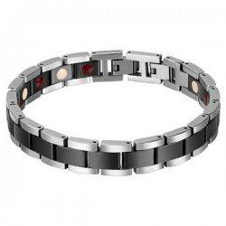 Mendes Keramieken Heren Armband Magnetische Power Zilver Zwart