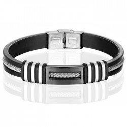 Siliconen armband LGT Jewels RVS Zwart Zilverkleurig