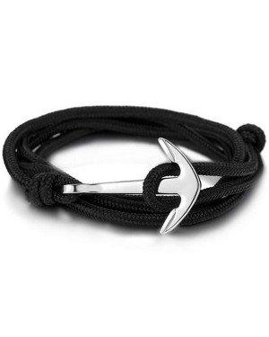 Anker armband polyester koord Zwart Zilverkleurig