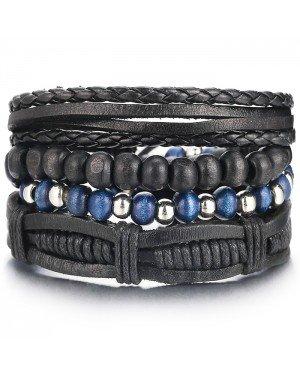 Armbanden set zwart leer en zilverkleurige kralen
