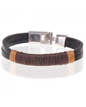 Bali Armband heren Zwart leer met Touw