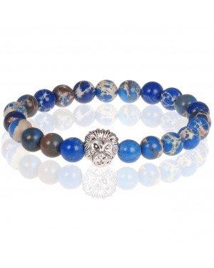 Blauwe kralen armband Natuursteen Leeuwenkop