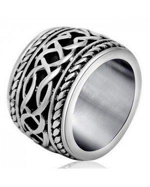 Brede edelstaal heren ring Celtic Knot