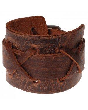 Bruine Vintage Cross leren armband
