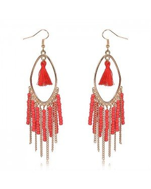 Chandelier oorbellen Tassel Bead Gold Red