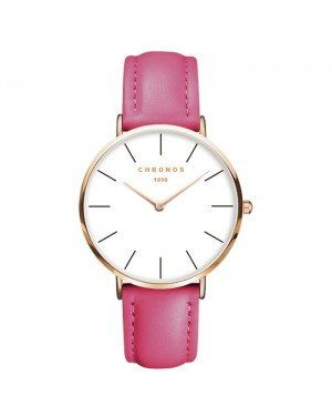 Chronos dames horloge Darkpink White Rose