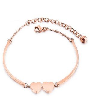 Cilla Jewels Dames Armband Dubbele Hartjes Rose