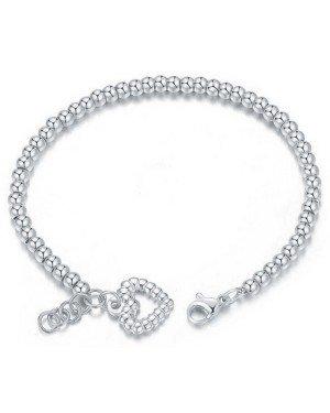 Cilla Jewels Dames Armband Kraalvormig met Hart Zilver