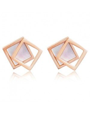 Cilla Jewels Dames oorknoppen Double Square Shell Rose Wit
