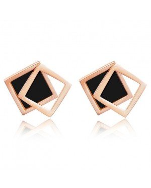 Cilla Jewels Dames oorknoppen Double Square Shell Rose Zwart