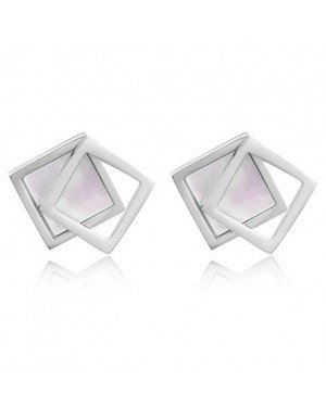 Cilla Jewels Dames oorknoppen Double Square Shell Zilverkleurig