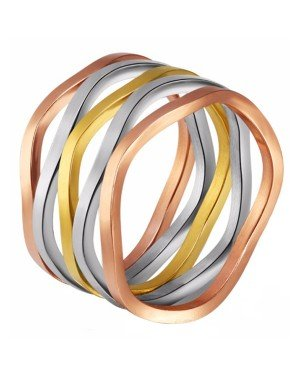 Cilla Jewels dames ring edelstaal Trio color