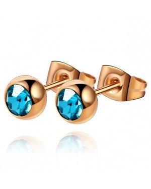 Cilla Jewels oorstekers Rose Edelstaal Blauwe steen