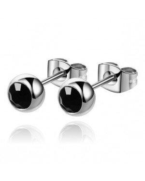 Cilla Jewels oorstekers Zilverkleurig Edelstaal Zwarte steen