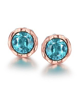 Cilla Jewels vergulde oorknoppen Aquamarine Diamond