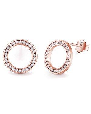 Cilla Silver dames oorknoppen 925 Zilver Open Circle Rose
