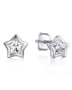Cilla Silver dames oorknoppen 925 Zilver Zirkonia Stars zilver