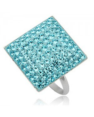 Cocktail ring 925 zilver Preciosa Crystal Light Blue