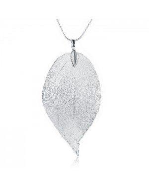 Dames ketting Blad Kettinghanger Leaf Slang Ketting Zilverkleurig