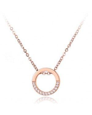 Dames ketting Edelstaal Cilla Jewels Rose Zircon Circle