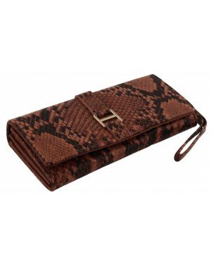 Dames portemonnee Giulliano Snake Print Brown