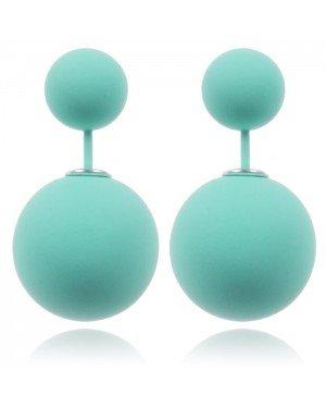 Double Dots oorbellen Matte Turquoise