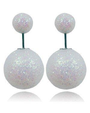 Double Dots oorbellen Shiny White