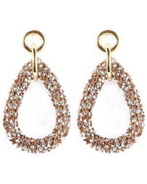 Druppel oorbellen ovaal goud en zilverkleurige kristallen