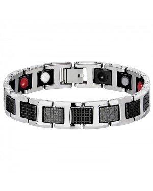Edelstaal heren armband Magneten Zilverkleurig Zwart