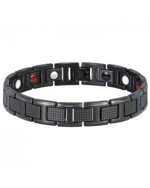 Edelstaal heren armband Magneten Zwart
