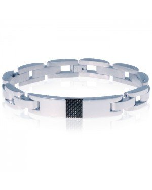 Edelstaal heren armband Mendes Carbon