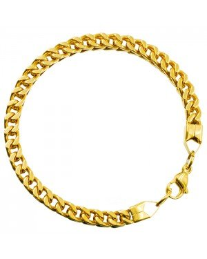 Edelstaal heren armband Squared Link Gold 6mm